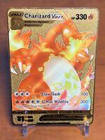 ☆☆☆ Pokemon Charizard VMAX (Glurak) Metall Gold Karte English ☆☆☆