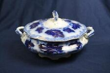 """FLOW BLUE JOHNSON BROS  NORMANDY 8"""" COVERED TUREEN as is"""