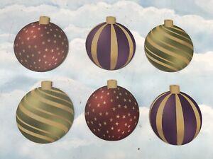 Set Of 6x Large MDF Christmas Baubles Decoration Display Prop Xmas Santa Elf XM