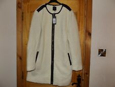 BNWT New Look collarless leather trim teddy borg coat jacket size 18 T