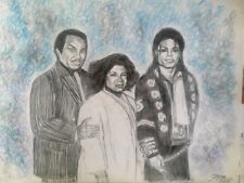 Michael Jackson drawing painting with parents, Joe Jackson and Katherine RARE