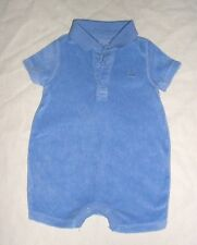 EUC Baby GAP Boys FIRST FAVORITES Blue Terry One-Piece Polo Romper 0-3 M