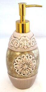 NEW PURPLE,MAUVE 3D FLOWER FLORAL+LEAF VINES CERAMIC GOLD SOAP+LOTION DISPENSER