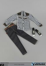 """1:6 ZY TOYS Grid Youth Shirt Jeans Shoes Suit Set F/12"""" Male Action Figure Body"""