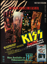 KISS - ANIMALIZE Live Uncensored__Original 1985 video Print AD / promo advert