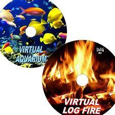 VIRTUAL AQUARIUM & LOGFIRE GREAT 2 DVD VIDEO SET VIEW ON FLATSCREEN TV/PC NEW