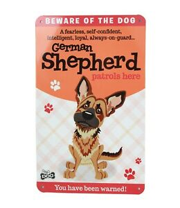 Beware of the German Shepherd Funny Metal Wall Sign Plaque Dog Lovers Gift New