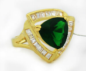 EMERALD 6.34 Cts & WHITE SAPPHIRES RING 14k GOLD PLATED * NWT * Size 7.25