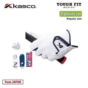 2019 Kasco Golf Japan TOUGH FIT Glove set(3 gloves) Regular size White,Navy 19wn