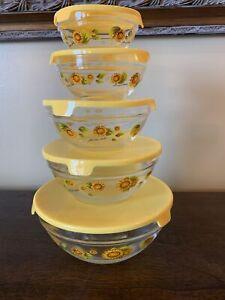 VTG Imperial Glass Sunflower Dute Nesting Bowls Set of 5 w/lids