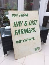 """Very Scruffy Damaged Haye & District Farmers Agricultural Board Sign  33""""x23"""""""
