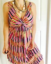 DAVID LAWRENCE WOMENS DRESS LINED SILK PRINTED KNEE StripLENGHT WORK PARTY SZ 14