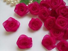 "1 "" Shocking Pink Organza Ribbon Roses Flowers Appliques-Lots 50 Pcs (R0082S)"