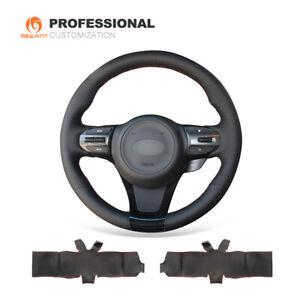 DIY Soft Black Genuine Leather Steering Wheel Cover for Kia K5 Optima 2014 2015