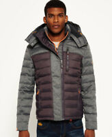 New Mens Superdry Fuji Mix Double Zip Hooded Jacket Grey