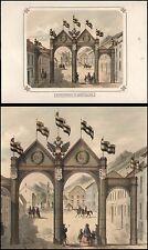 Kärnten  Ehrenpforte in Obervellach  Ansicht  Original-Farblithographie um 1850