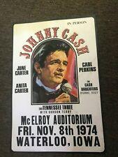 Johnny Cash Carl Perkins Tennessee Three 1974 Iowa CardstockConcert Poster 12x18