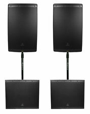 "2) JBL EON615 15"" 2000w Powered DJ PA Speakers w/Bluetooth App Ctrl+2) 18"" Subs"