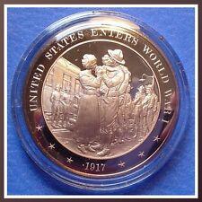 1917 United States Enters World War I ~ Franklin Solid Bronze Medal Uncirculated