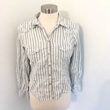 Johnny Cotton Shirt Large Western Pearl Snap 100% Cotton Stripe Cowgirl Rodeo