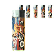 Texas Pin Up Girl D1 Lighters Set of 5 Electronic Refillable Butane