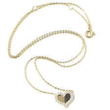 9ct Gold Heart Pendant Cubic Zirconia Ladies Necklace Yellow Flat Belcher Chain