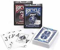 Bicycle PRO Playing Cards PokerPeek Standard Size Jumbo Index 1 Deck Red/Blue US