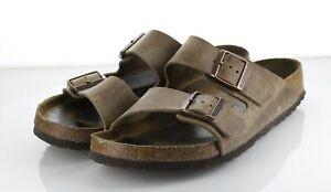 Y46  $135 Men's Sz 42 Birkenstock Arizona Leather Strap Sandal - Brown