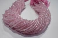 """Pink Rose Quartz Gemstone Rondelle Faceted Beads 3 mm 13"""" Loose Strand KKJ55"""