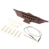 Professional Guitar Rosewood Bridge & Pins Piezo Pickup Saddle Nut Set Acoustic