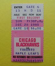 DARRYL SITTLER Hat Trick Toronto Maple Leafs @ Blackhawks NHL Ticket Stub 1980