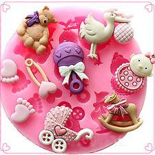 Fashion Baby Shower Silicone Fondant Cake Molds Chocolate Baking Decor Mould