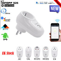 2019 Sonoff S26 S20 Wifi Smart Power Socket APP For IOS Alexa Google Home UK