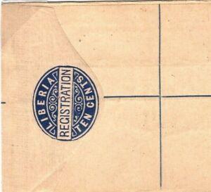 LIBERIA Unused Postal Stationery REGISTERED Envelope H&G4 10 Cents{samwells}DA21