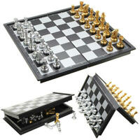 Chess Game Silver Gold Pieces Folding Magnetic Foldable Board Travel Set 10 Inch
