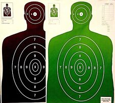 Paper-Shooting-Targets-50-Black-50-Green-Silhouette-Gun-Pistol-Rifle-B27-Qty-100