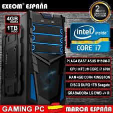 Ordenador Gaming Pc INTEL CORE i7 6700 6ª GEN 4GB DDR4 HDD 1TB HDMI de Sobremesa