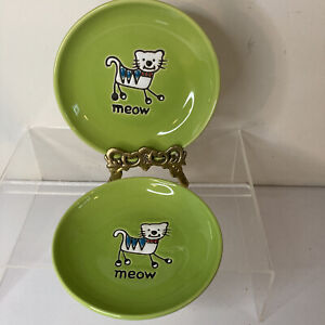 2 Petrageous Designs Green Round Cat Food Bowl Dish Ceramic MEOW stoneware 5""