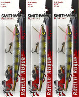 "Smithwick Fish Lure ARB1232 Float Rattlin Rogue Jerk 4 1//2/"" 1//3 oz Chrm Blu Back"
