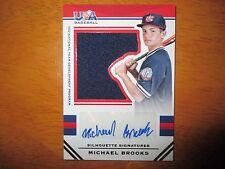 MICHAEL BROOKS 2017 Panini Stars & Stripes USA Baseball Jersey Autograph #49/49