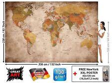 Mapa Mundi Foto Mural Vintage Retro Antiguo Tamaño XXL Decoración Despacho Casa