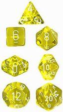 Set 7 dadi CHESSEX Translucent Yellow white Trasparenti Giallo bianco 23002 Die