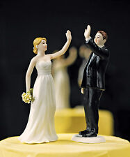 """High Five"" Cute Funny Bride Groom Wedding Cake Topper HAIR & VEIL CUSTOMIZATION"