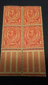 GB King George V 1912 1d Scarlet Unmounted Mint Block of 4 SG 341 Wmk.49