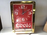 """Coors Beer Lighted Clock Vintage 1990 Thomas Schultz  17"""" X 12"""""""