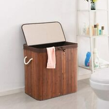 Double Laundry Hamper Removable Liner Laundry Basket Sorter with Lid Handles
