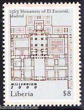 Liberia 2000 MNH, Monestary El Escorial, Religion, Maps, World Heritage