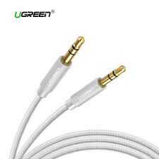 Cable audio estereo mini Jack 3,5mm doble macho auxiliar nylon UGREEN plata