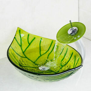 Green Leaf Washbasin Tempered Glass Vessel Bathroom Waterfall Faucet Combo Kit