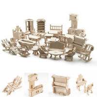 34Pcs Set New Vintage Wooden Furniture Dolls House Miniature Toys Kids Gift
